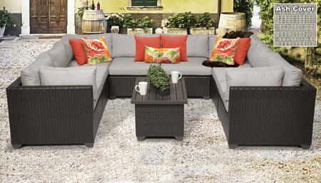Belle Collection BELLE-09a-ASH Belle 9-Piece Patio Set 09a with 4 Corner Chair   4 Armless Chair   1 Coffee Table - Wheat and Ash