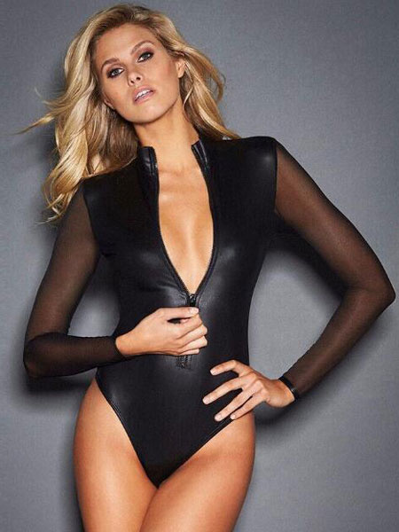Milanoo Pole Dance Wear Black Stand Collar Long Sleeve Zip Up Womens Sexy Bodysuit