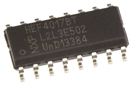 Nexperia HEF4017BT,652 5-stage Decade Counter, Up Counter, , Uni-Directional, 16-Pin SOIC (20)