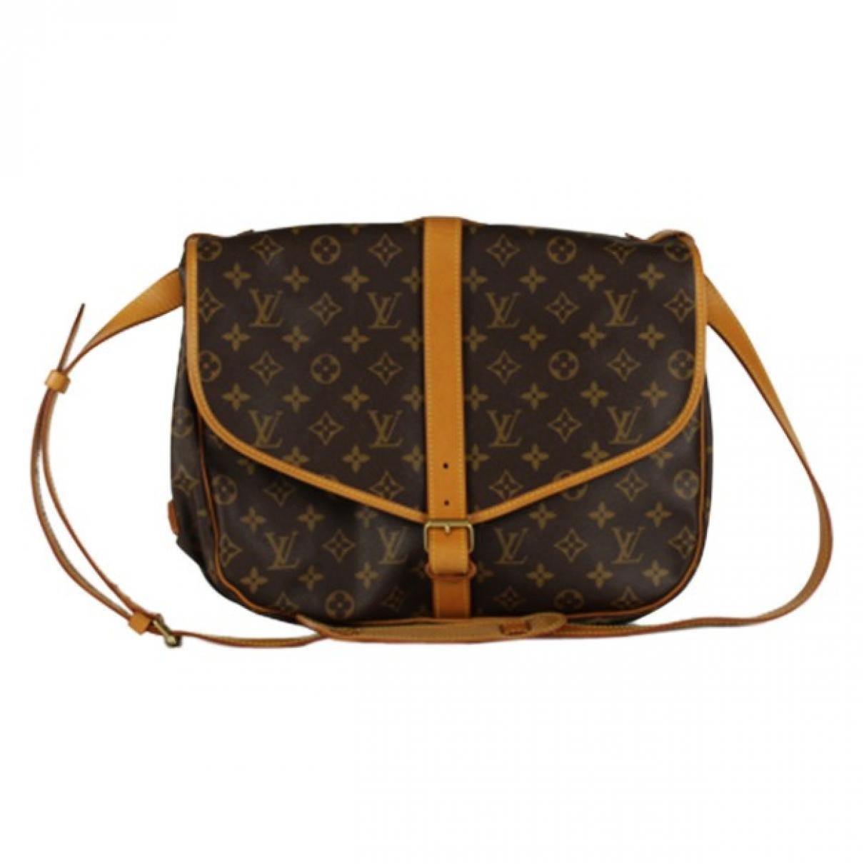 Louis Vuitton Saumur Handtasche in  Braun Leinen