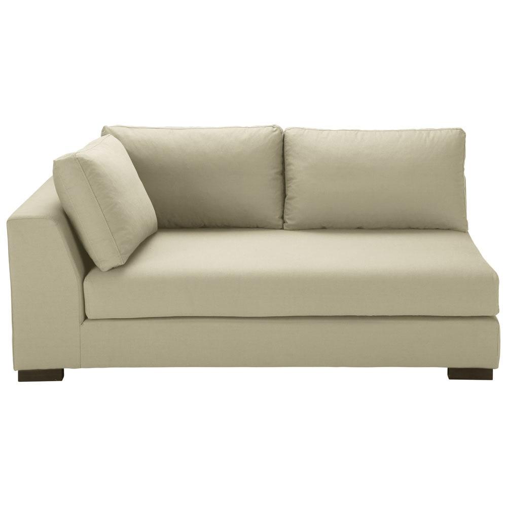 Modulares Sofa mit linker Armlehne aus Baumwolle kittfarben Terence