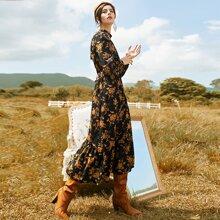 A-Linie Kleid mit Blumen Muster und Stehkragen ohne Guertel