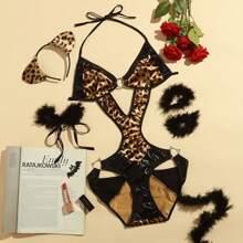 6pack Faux Fur Decor Leopard Costume Set