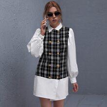 2 In 1 Kleid mit doppelten Knopfleisten und Karo Muster
