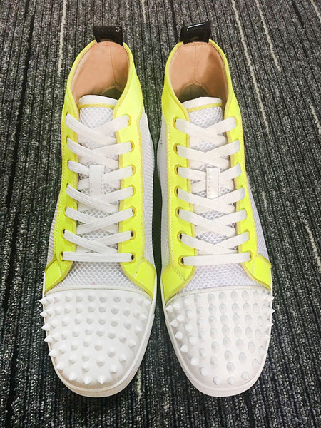 Milanoo Man Casual Shoes White Cowhide Round Toe Artwork Rivets Lace Up Shoes