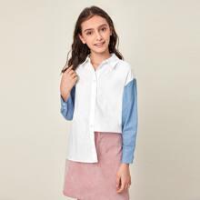 Blusas para niñas Boton delantero Monocolor Casual