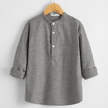 Boys Rolled Cuff Button Up Placket Striped Top