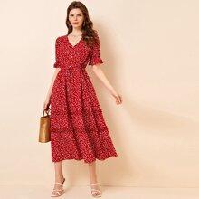 Buttoned Front Drawstring Waist Frill Trim Heart Print Dress