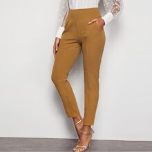 Zip Back Wide Waistband Tailored Pants