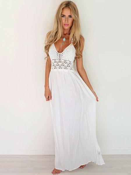Milanoo White Maxi Dress Halter Crochet Backless Chiffon Long Summer Dress
