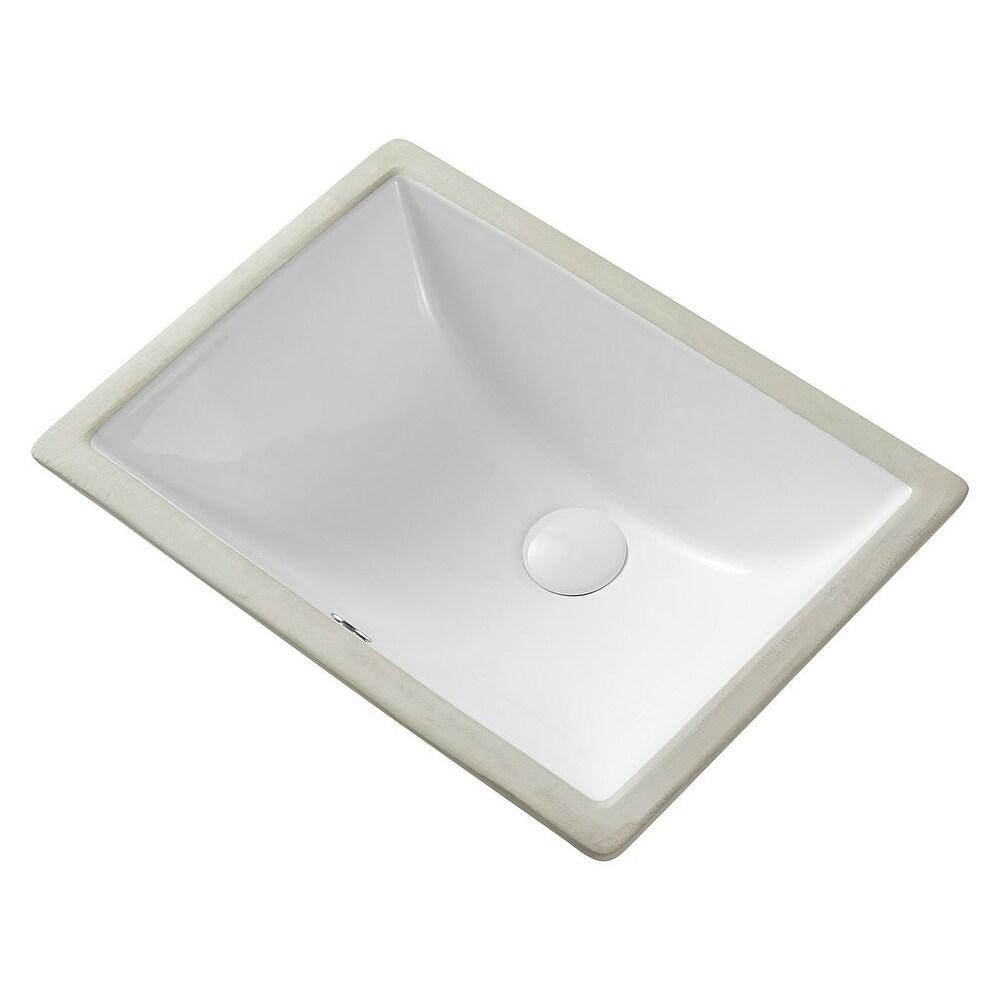 Eridanus 18 Rectangle Undermount Bathroom Sink (White)