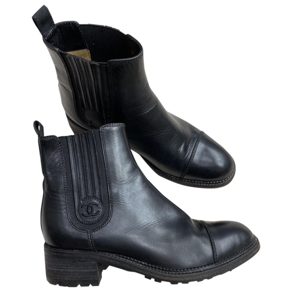 Chanel N Black Leather Ankle boots for Women 38 EU