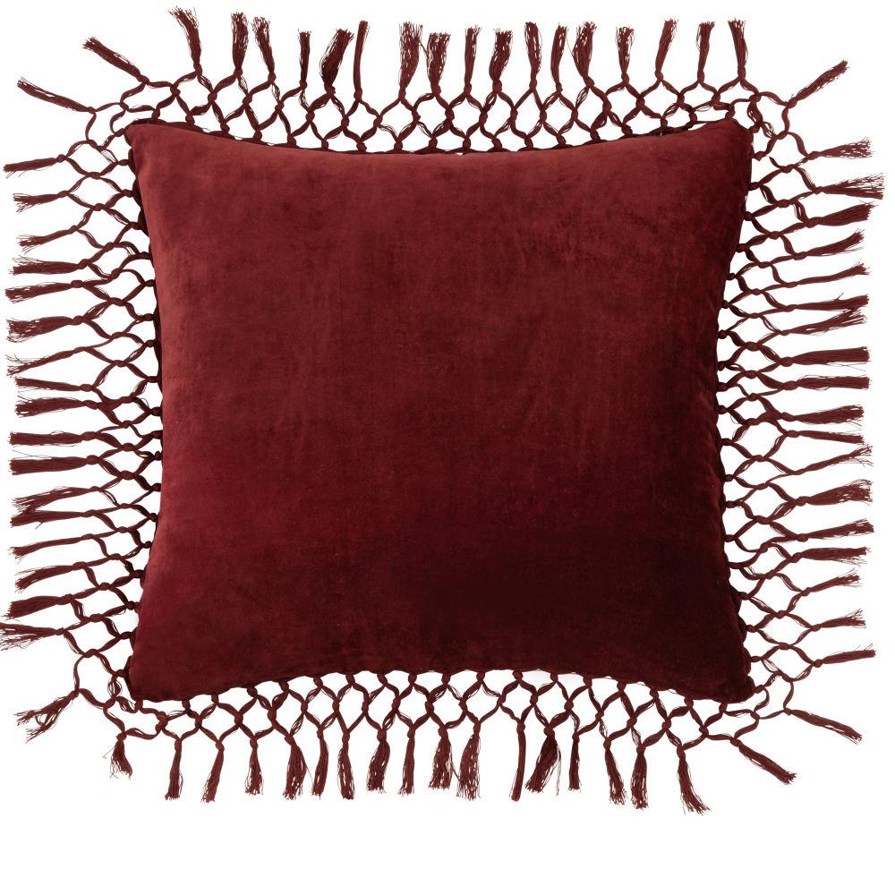 Kissen aus Samt und Baumwolle, mit roten Fransen 45x45