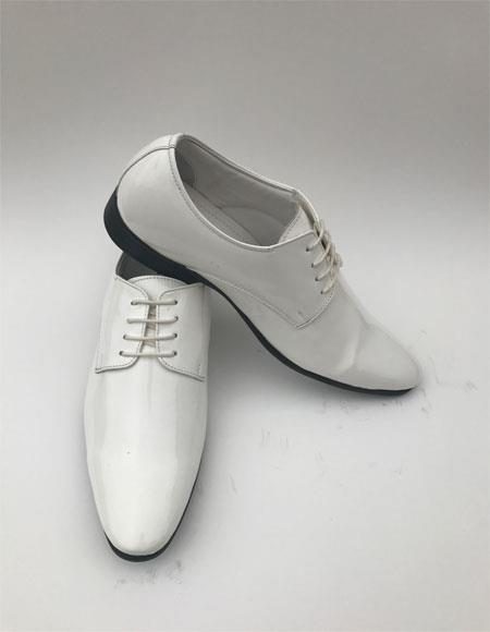 Men's Plain Toe Lace Up Style White Tuxedo Formal Shiny Dress Shoes
