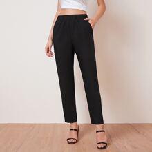 Slant Pocket Solid Pants