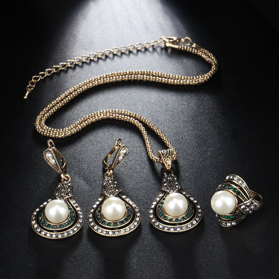 3 Pcs Vintage Gourd-Shape Women Jewelry Set Pearl Crystal Adjustable Necklace Ring Earrings Kit