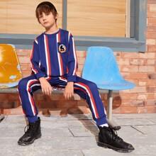 Pullover mit Karikatur Grafik, Taschen vorn und Streifen & Jogginghose Set