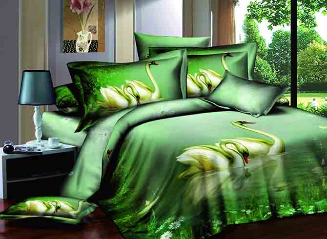 3D Swans on Lake Printed Cotton 4-Piece Green Bedding Sets/Duvet Covers