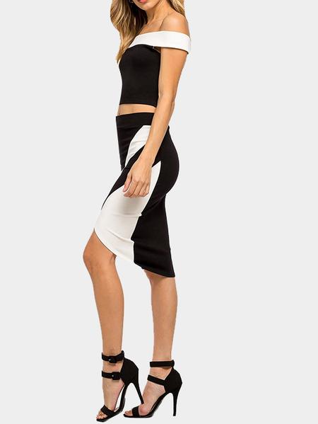 Yoins Sexy Off Shoulder Crop Top & Irregular Hem Midi Skirt Co-ord