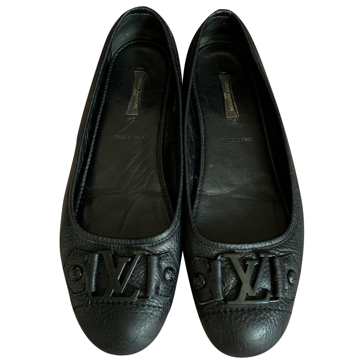 Louis Vuitton \N Black Leather Ballet flats for Women 37.5 EU