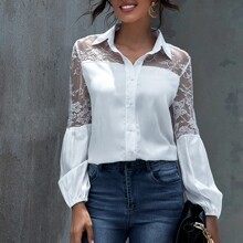 Lantern Sleeve Lace Yoke Blouse