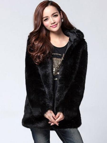 Milanoo Faux Fur Coat Women White Long Sleeve Hooded Winter Overcoat