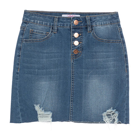 Ymi Girls Midi Denim Skirt, 7 , Blue