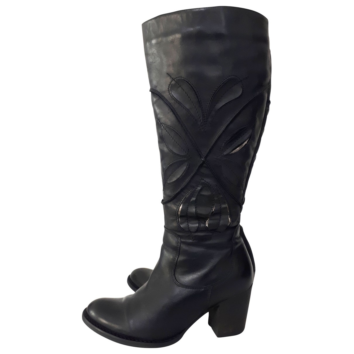 Clarks \N Black Leather Boots for Women 5 UK