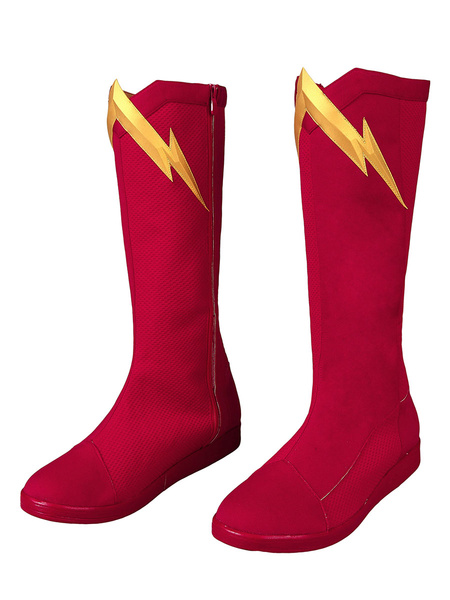 Milanoo The Flash Cosplay Barry Allen Ture Red Shoes DC Comics Cosplay Shoes