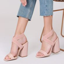 Square Toe Elastic Ankle Strap Chunky Heel Sandals