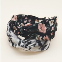 2pcs Ditsy Floral Pattern Hair Hoop