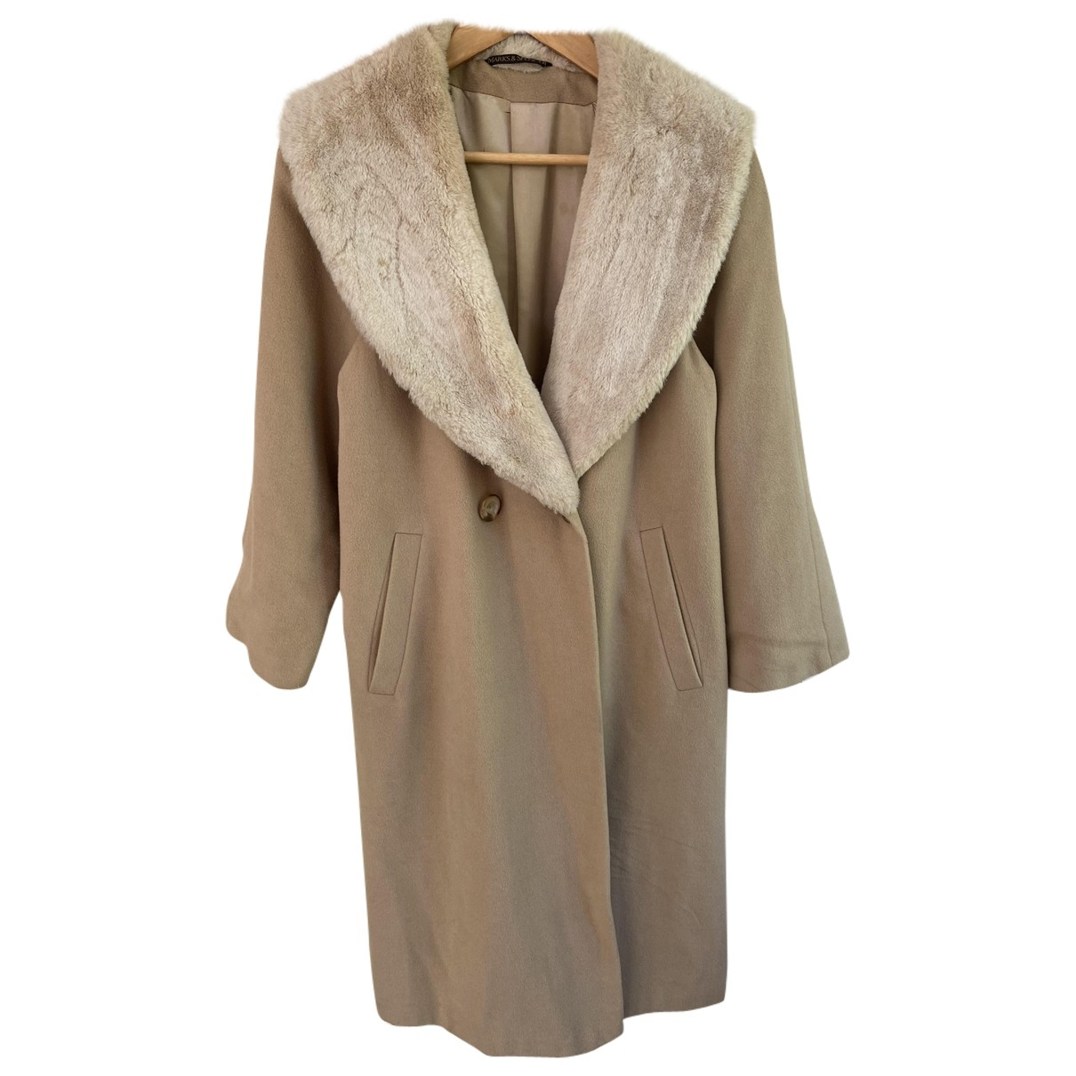 Non Signe / Unsigned Oversize Maentel in  Beige Wolle