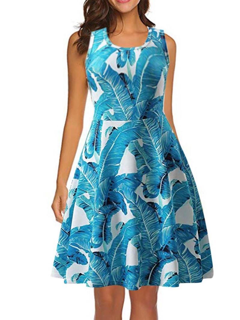 Ericdress Round Neck Sleeveless Print Pullover A-Line Dress