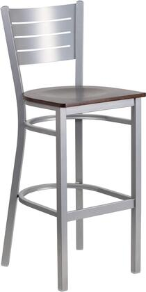 Hercules Collection XU-DG-60402-BAR-WALW-GG Barstool with Curved Support Bars  Slat Back Design  Silver Powder Coated Steel Frame and Plywood Seat