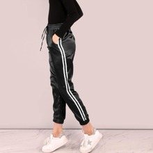 Side Striped Satin Trainer Sweatpants