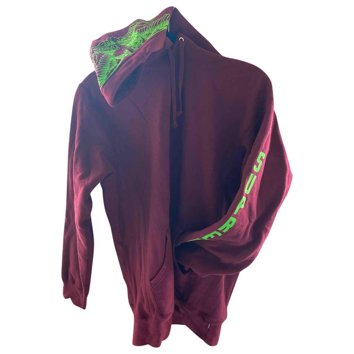 Supreme \N Pullover.Westen.Sweatshirts  in  Bordeauxrot Baumwolle