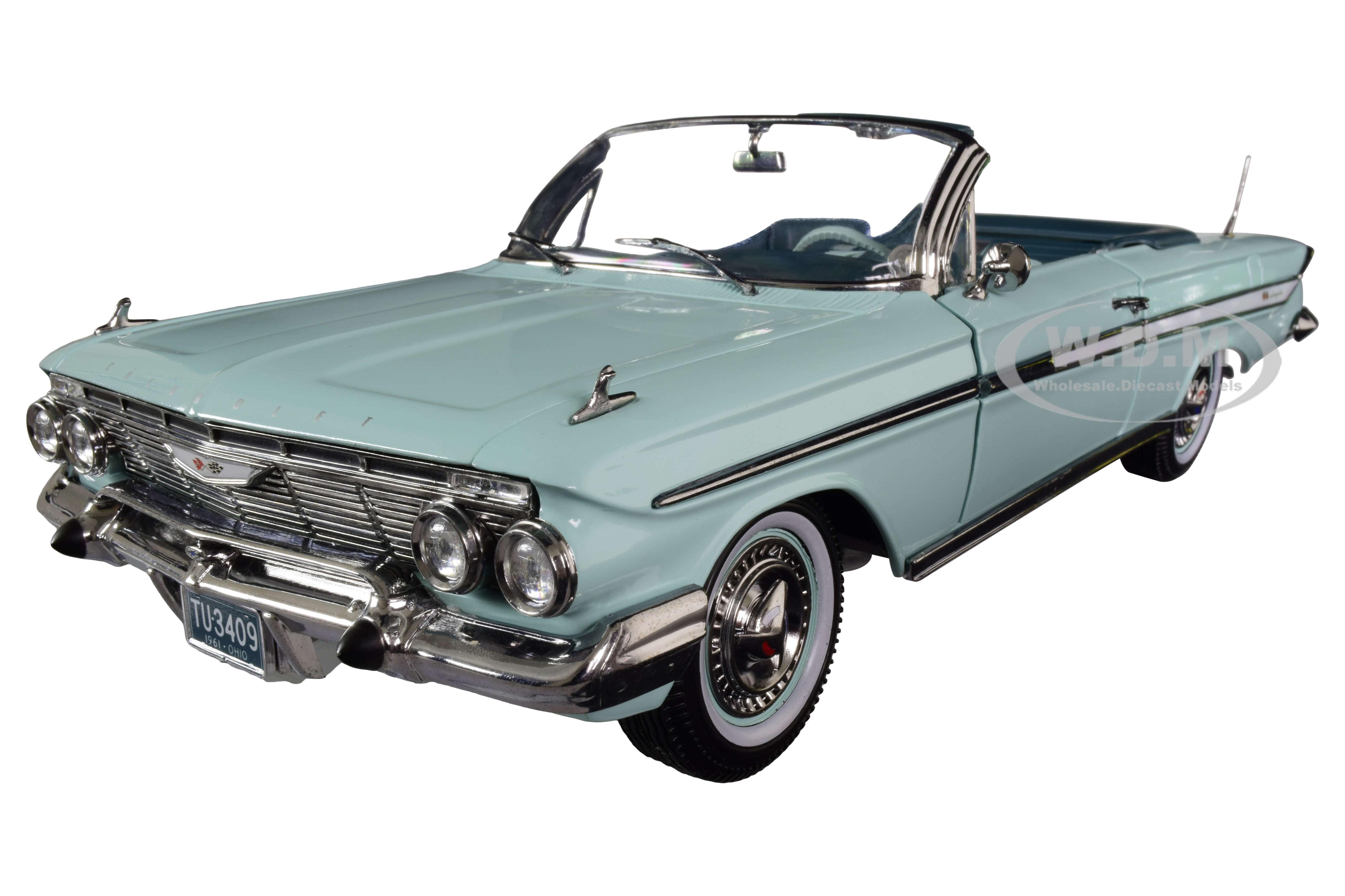 1961 Chevrolet Impala Open Convertible Seafoam Green 1/18 Diecast Model Car by SunStar