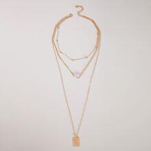 Geometric Charm Layered Necklace