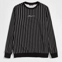 Pullover mit Buchstaben Grafik und Streifen