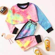 T-Shirt mit Batik & Jogginghose mit Buchstaben Muster und Band