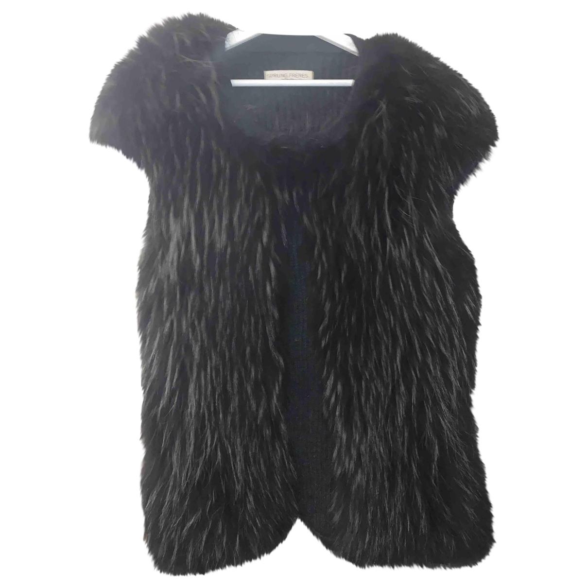 Sprung Freres - Veste   pour femme en racoon - noir