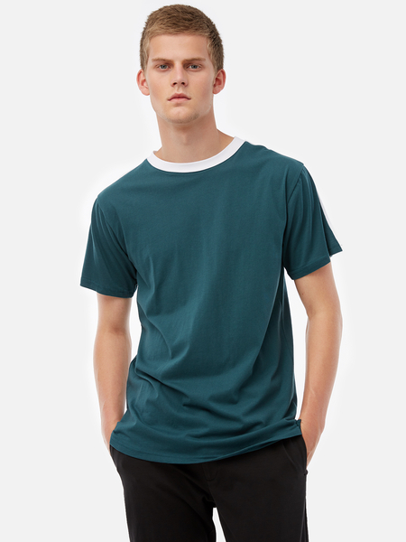 Yoins Green Fashion Style Should Strip Crew Neck Short Sleeve Side Split Men's T-Shirt