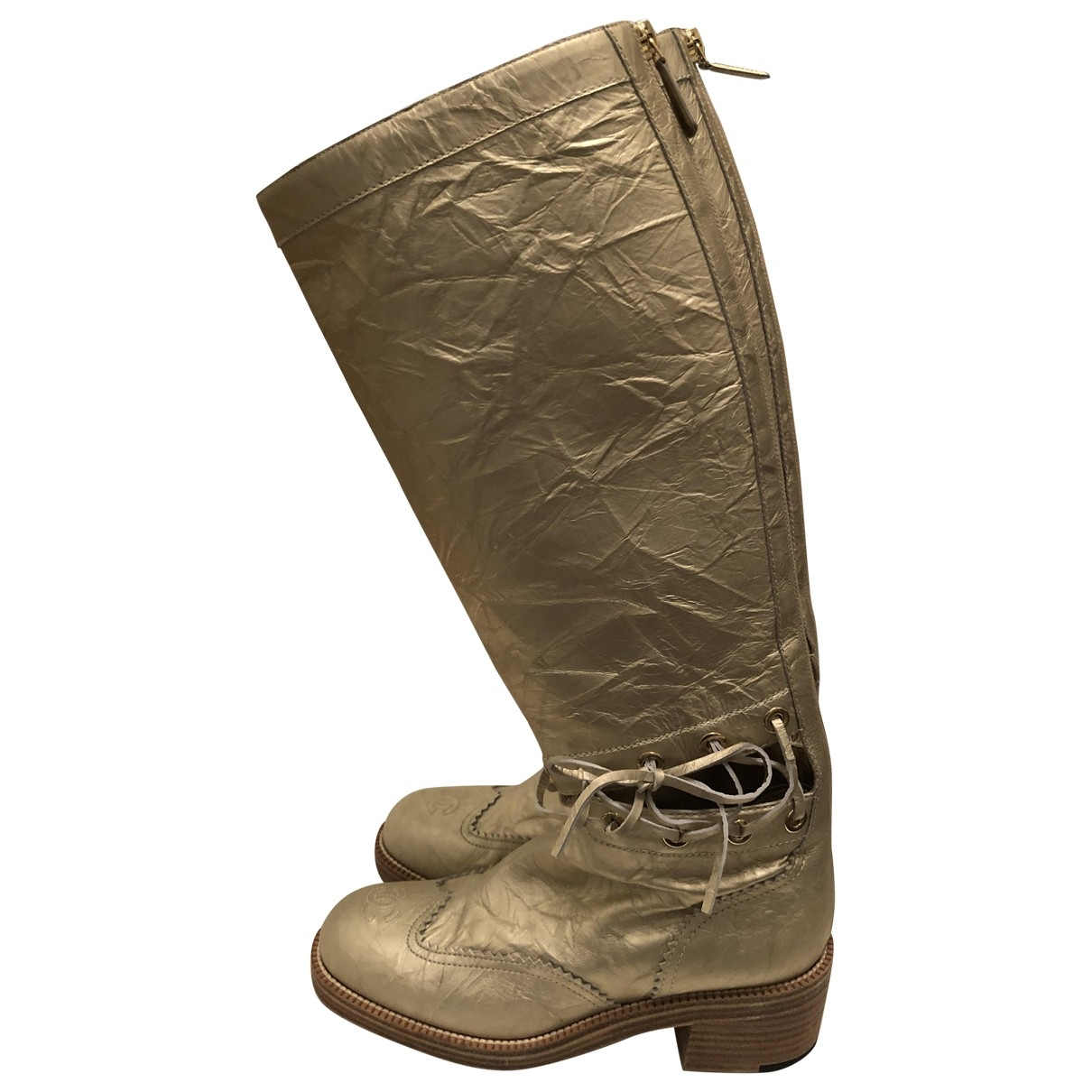 Chanel \N Gold Leather Boots for Women 38 EU