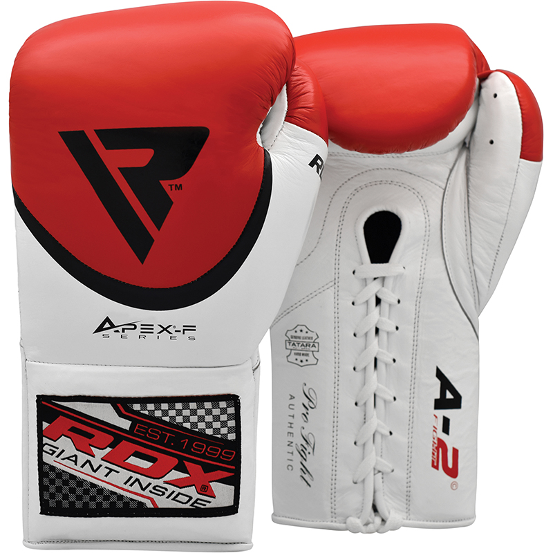 RDX A2 Leather Red / White Pro 8oz Boxing Fight Gloves Professional Lace Up Punching Competition for Men and Ladies