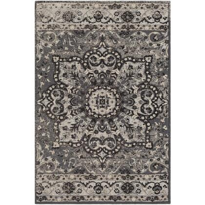 Amsterdam AMS-1018 8' x 10' Rectangle Traditional Rug in Charcoal  Medium Grey  Ice Blue