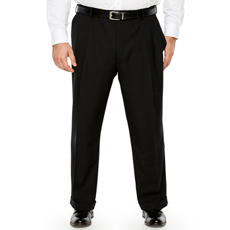 Stafford - Big and Tall Classic Fit Pleated Pant, 52 29, Black