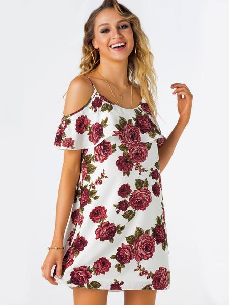 Yoins Red Random Floral Print Cold Shoulder Dress with Flouncy Details