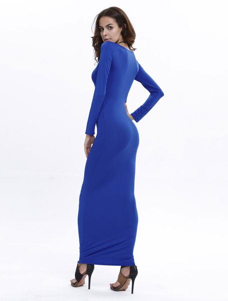 Milanoo Women Maxi Dress Long Sleeve Dress Scoop Neck Shaping Fall Dress