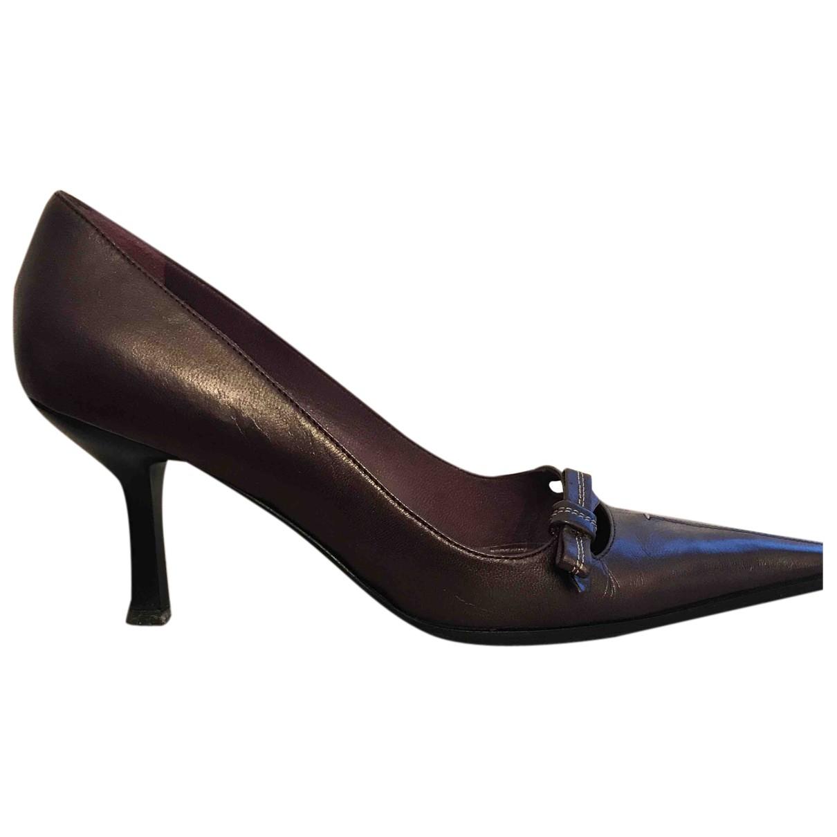 Lella Baldi N Purple Leather Heels for Women 37 EU