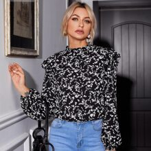 Ruffle Trim Mock Neck Ditsy Floral Top
